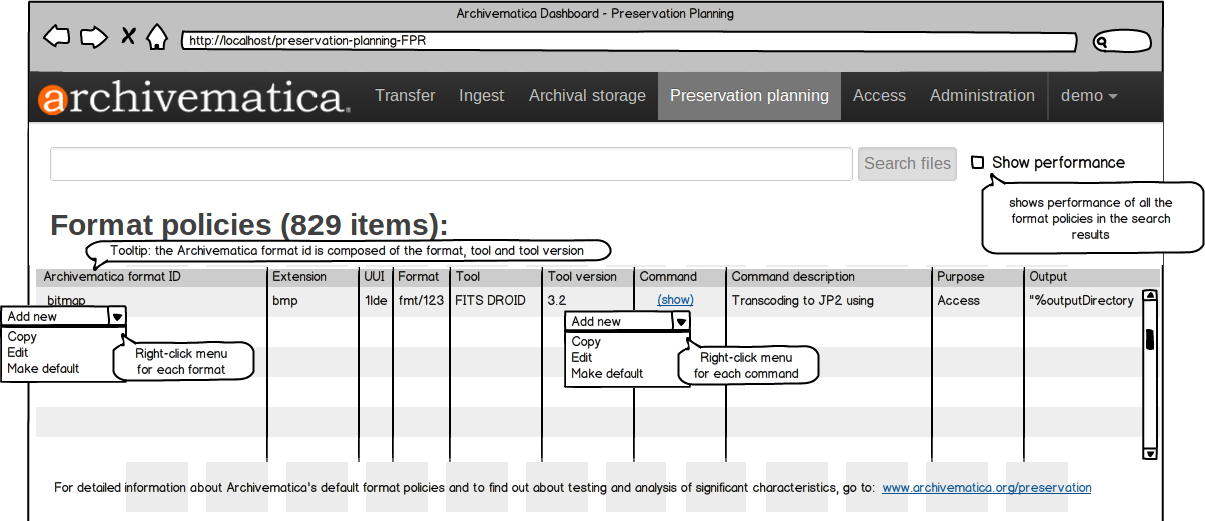 Preservation Planning tab in dashboard
